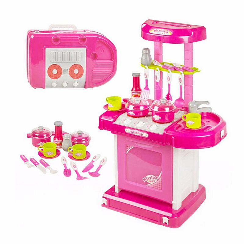 Tomindo Kitchen Set Koper Pink 008-58 - mainan masak masakan