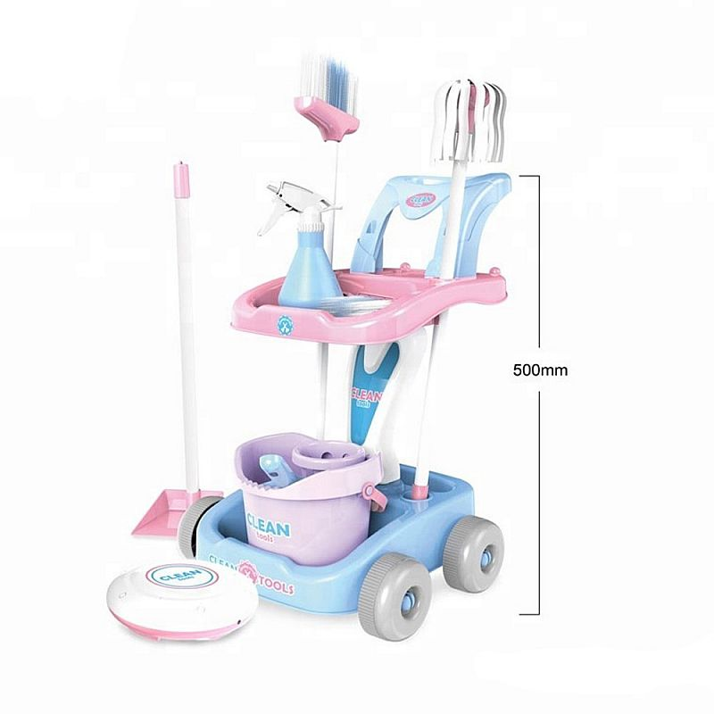 Tomindo Little Household Assistant Cleaning Trolley - PINK - 998-1 - mainan sapu sapuan